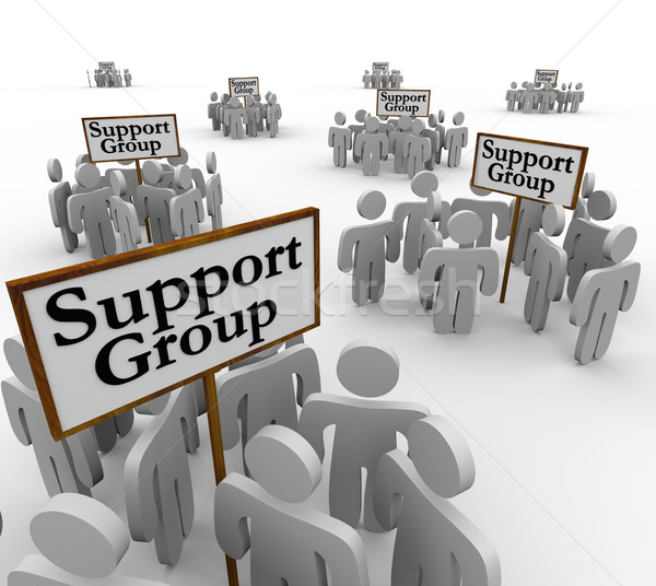 Support Group People Meeting Around Signs Help Therapy Communica Stock photo © iqoncept