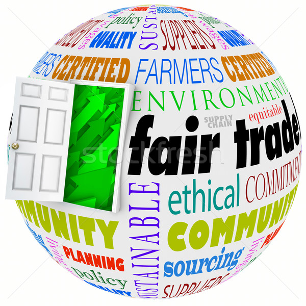 Fair Trade Words Globe International Business Policy Open Door Stock photo © iqoncept