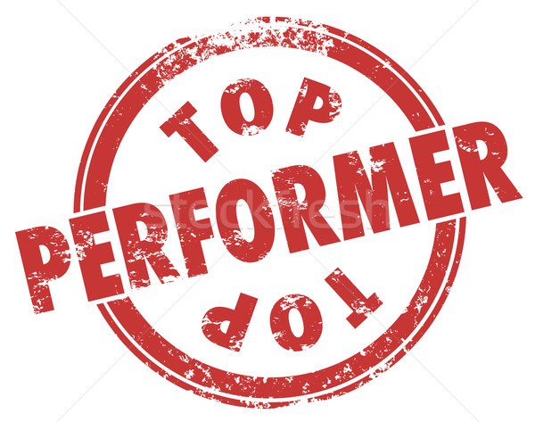 Top Performer Red Grunge Stamp Best Worker Employee Player Perfo Stock photo © iqoncept