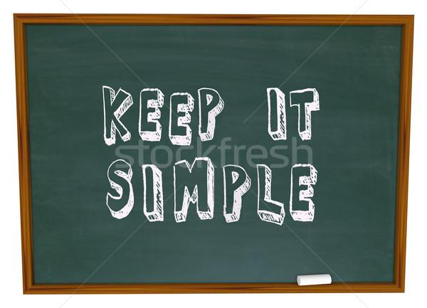 Simple palabras pizarra sencillez consejo lección Foto stock © iqoncept