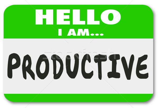 Productive Hello Nametag Efficient Worker Person Applicant Candi Stock photo © iqoncept