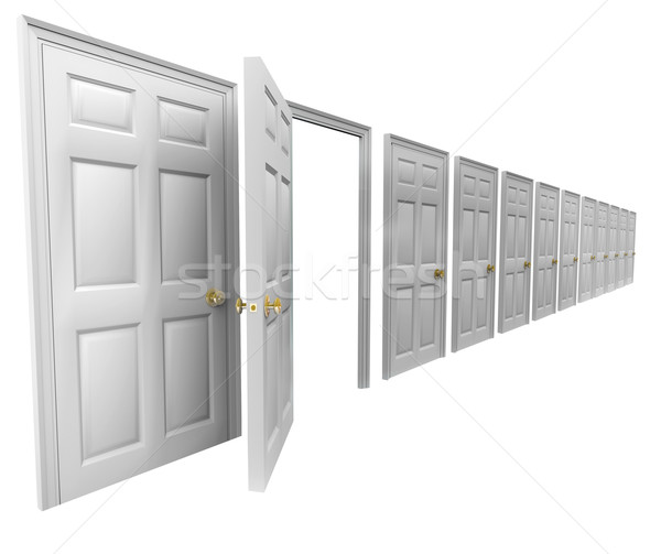 Stock photo: One Open Door Many Doorways Closed Leave Escape Plan Exit Strate