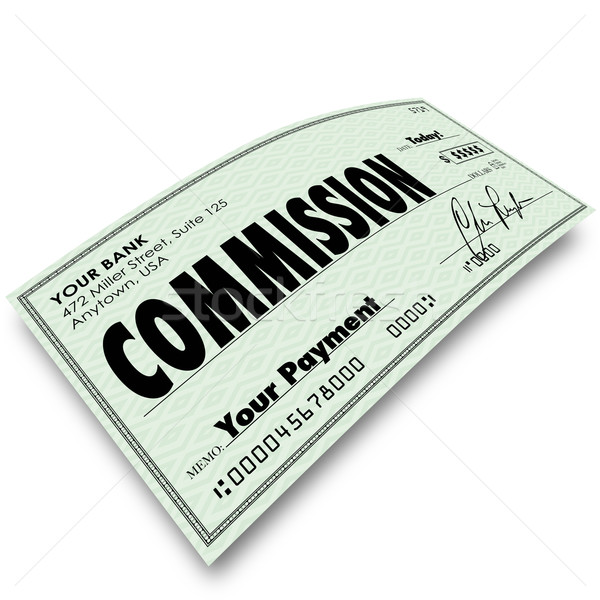 Commission Check Sale Compensation Pay Income Money Stock photo © iqoncept