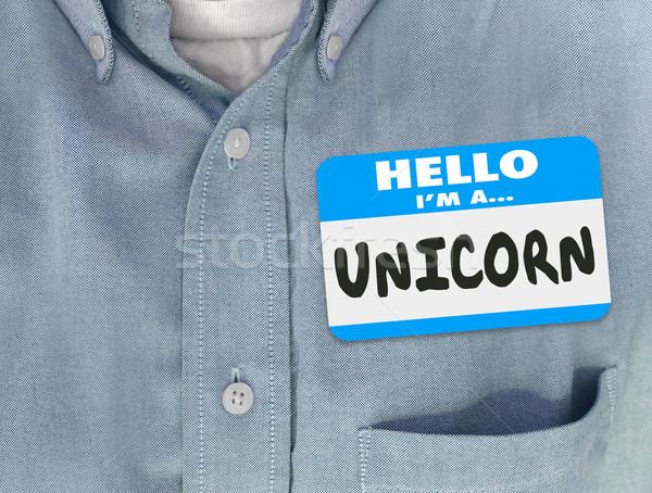 Merhaba mavi gömlek sözler Stok fotoğraf © iqoncept