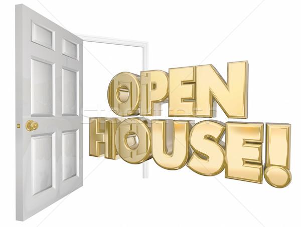 Open House Home Sale Door Words 3d Illustration Stock photo © iqoncept