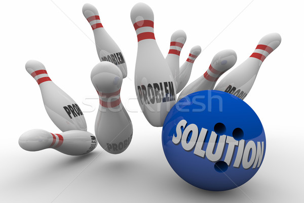 Problem Solution Bowling Ball Pins Strike Solved 3d Illustration Stock photo © iqoncept