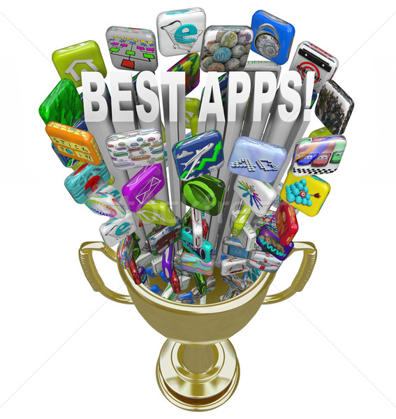 Best Apps - Tile Icons in Golden Trophy Stock photo © iqoncept