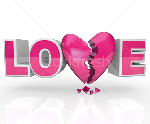 Love Broken Heart Word Break-Up Ends Relationship Stock photo © iqoncept