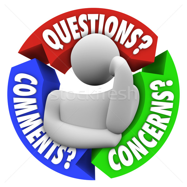 Questions commentaires diagramme pense homme Photo stock © iqoncept