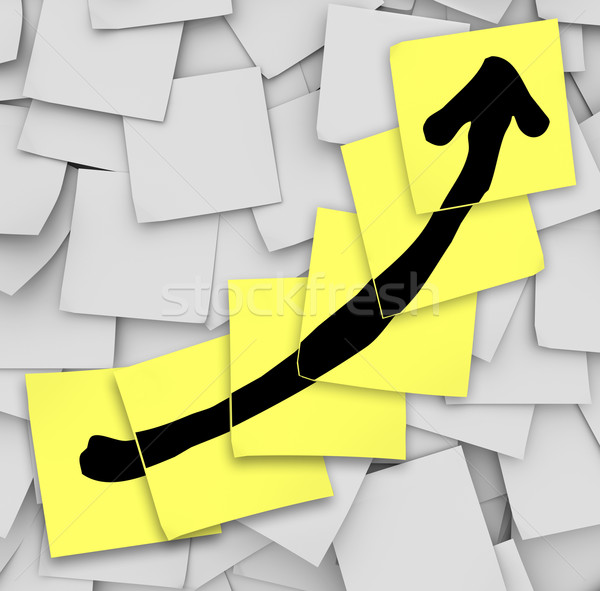 Stock photo: Arrow Up Tracking Growth Success Sticky Notes