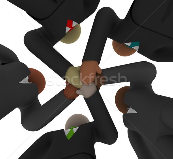 Jókedv sokoldalú üzleti csapat alatt öt csapat Stock fotó © iqoncept