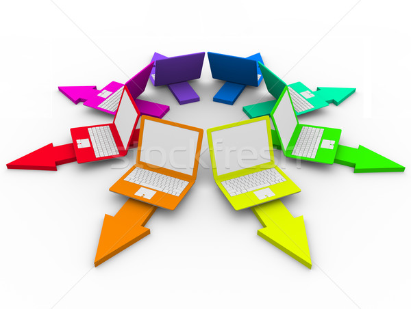 Colored Laptops on Arrows - Choices Stock photo © iqoncept