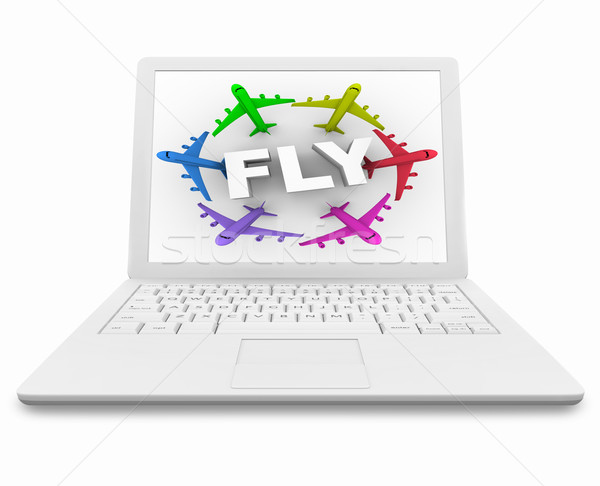 Volare parola aerei bianco computer portatile schermo Foto d'archivio © iqoncept