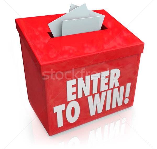 Enter to Win Red Raffle Lottery Box Entry Forms Tickets Stock photo © iqoncept