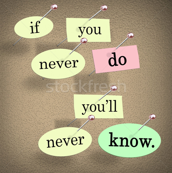 If You Never Do You'll Never Know Pushpin Saying Quote Stock photo © iqoncept