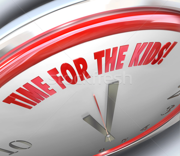 Time for Kids Clock 3D words Special Play Recreation Recess Stock photo © iqoncept
