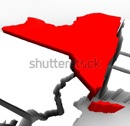 New York State Map - Red Abstract 3d Illustration Stock photo © iqoncept