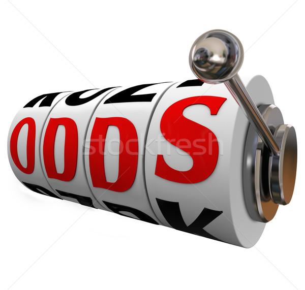 Esély szó játékautomata kerekek fogadás hazárdjáték Stock fotó © iqoncept