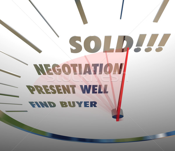 Sold Speedometer Words Negotiate Present Find Buyer Selling Proc Stock photo © iqoncept