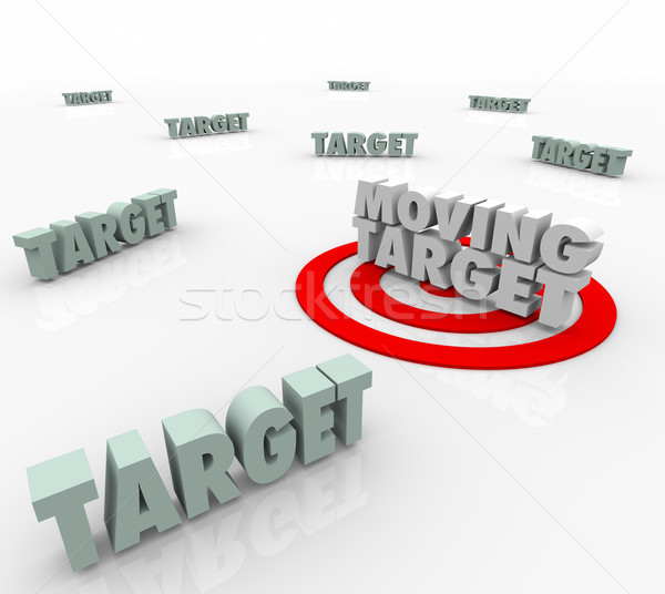 Moving Target Changing Plan Strategy Find Elusive Location Stock photo © iqoncept