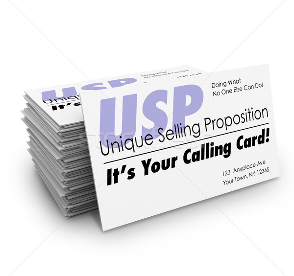 USP Unique Selling Proposition Your Calling Business Card Stak Stock photo © iqoncept