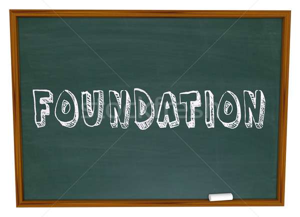 Foundation Word Chalkboard Learn Business Principles Start Basis Stock photo © iqoncept