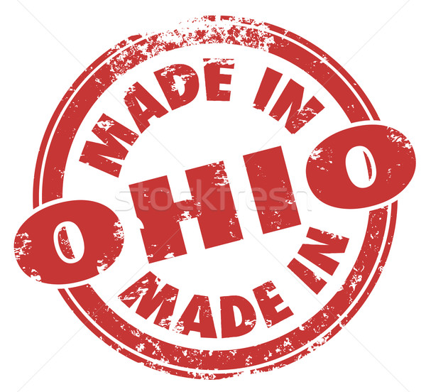 Made in Ohio Words Round Red Stamp Manufacturing Pride Badge Sta Stock photo © iqoncept