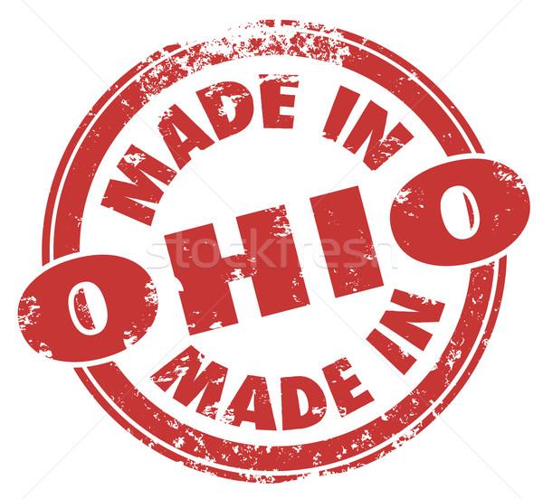 Ohio mots rouge tampon fabrication fierté Photo stock © iqoncept