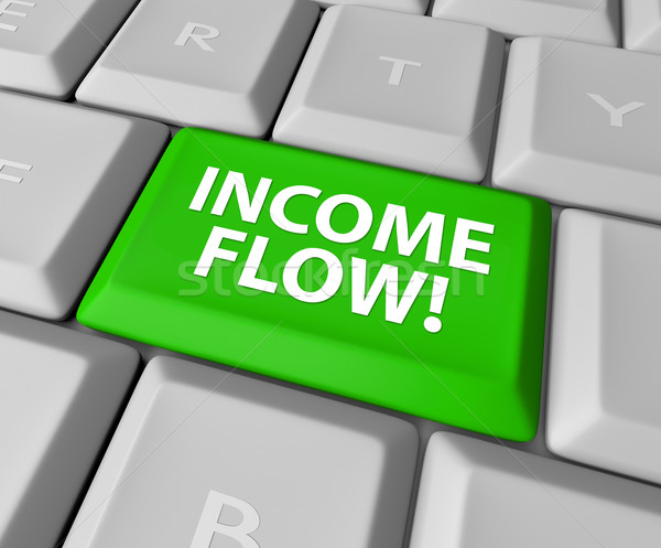 Income Flow Earning Money Investment Profit Revenue Keyboard But Stock photo © iqoncept