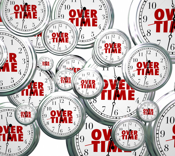 Overtime Word Clocks Flying By Extra Added Late Work Job Stock photo © iqoncept