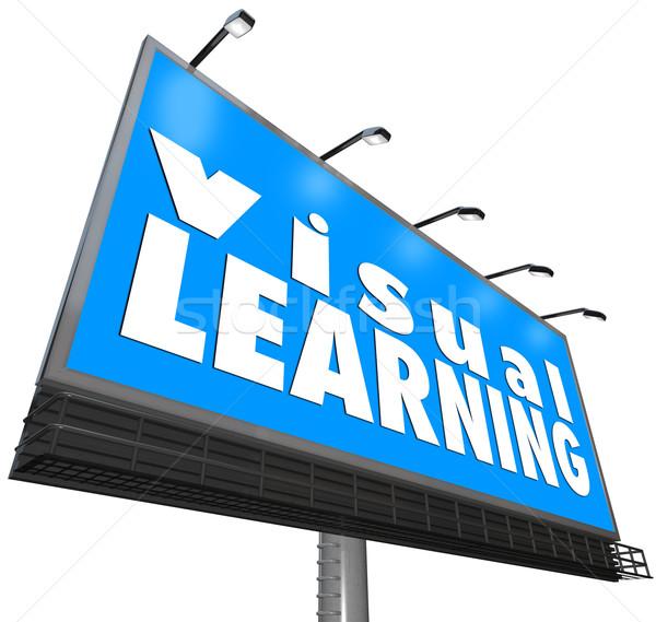 Apprendimento cartellone segno guardare dimostrazione parole Foto d'archivio © iqoncept