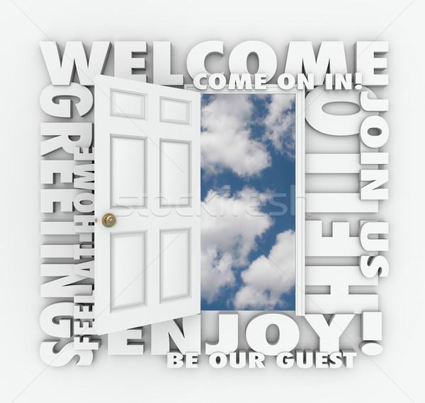 Bienvenida puerta abierta Hola amistoso servicio invitado Foto stock © iqoncept