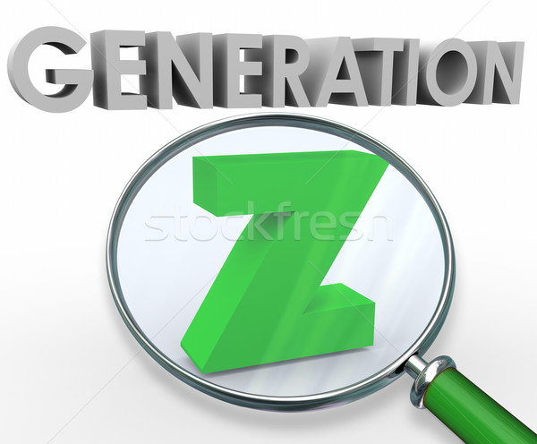 Generation Z 3d Words Magnifying Glass Finding Searching Youth Stock photo © iqoncept