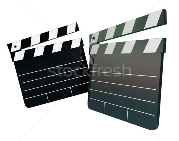 Movie Film Director Clapper Boards Two 2 Blank Copy Space Your M Stock photo © iqoncept