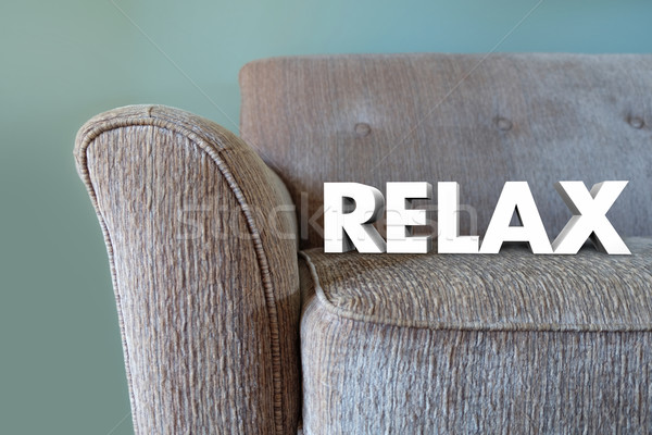 Relax 3d Word Couch Rest Take Break Stock photo © iqoncept