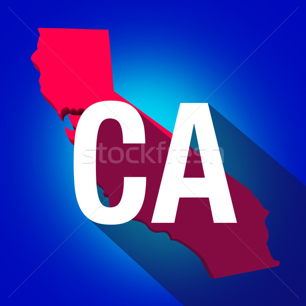 CA California Letters Abbreviation Red 3d State Map Long Shadow Stock photo © iqoncept