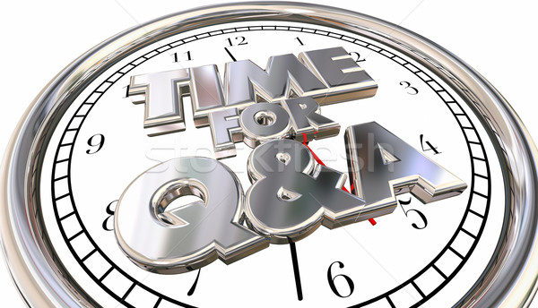 Time for Q and A Questions Answers Ask Information Clock 3d Word Stock photo © iqoncept