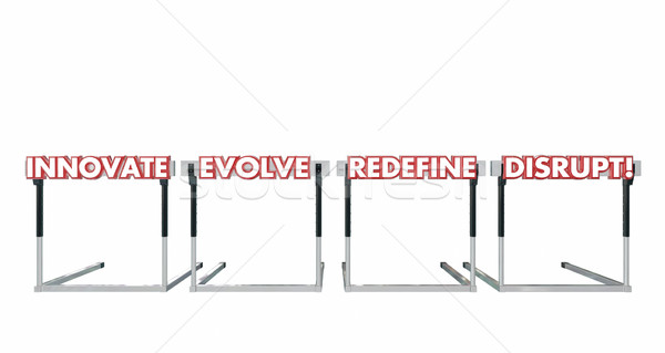 Disrupt Jumping Over Hurdles Challenge Innovate Evolve Redefine  Stock photo © iqoncept