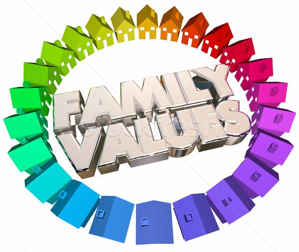 Família valores religioso casas casas palavras Foto stock © iqoncept
