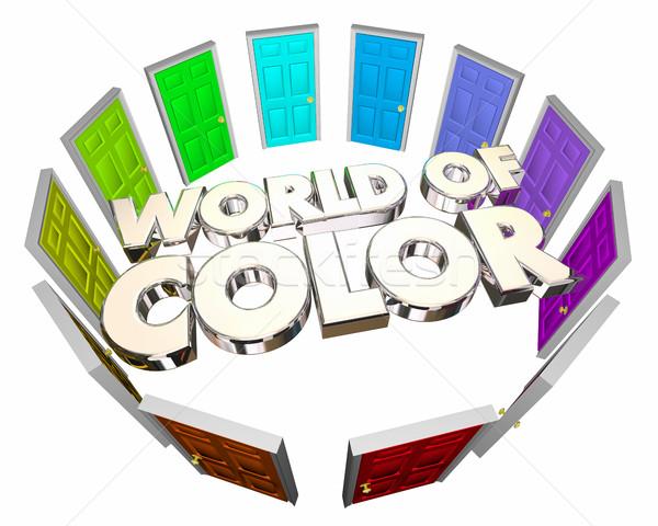 World of Color Diversity Options Choices Doors 3d Illustration Stock photo © iqoncept