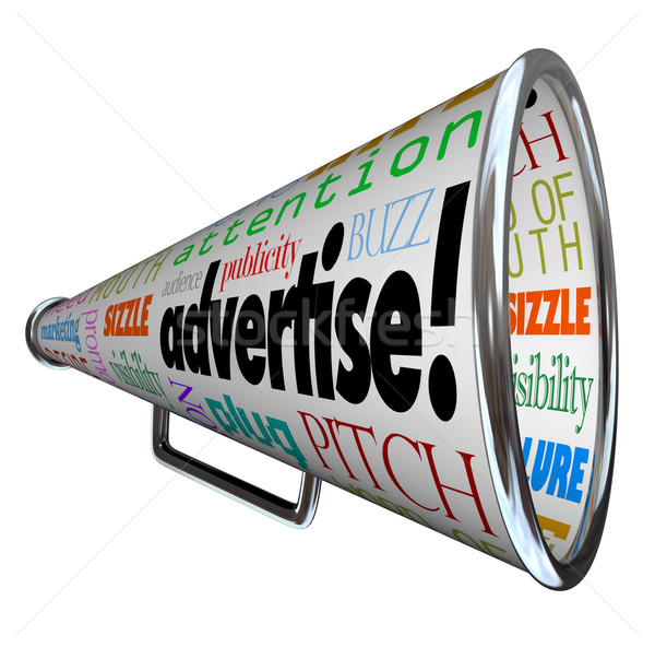 Advertise Bullhorn Megaphone Words of Marketing Stock photo © iqoncept