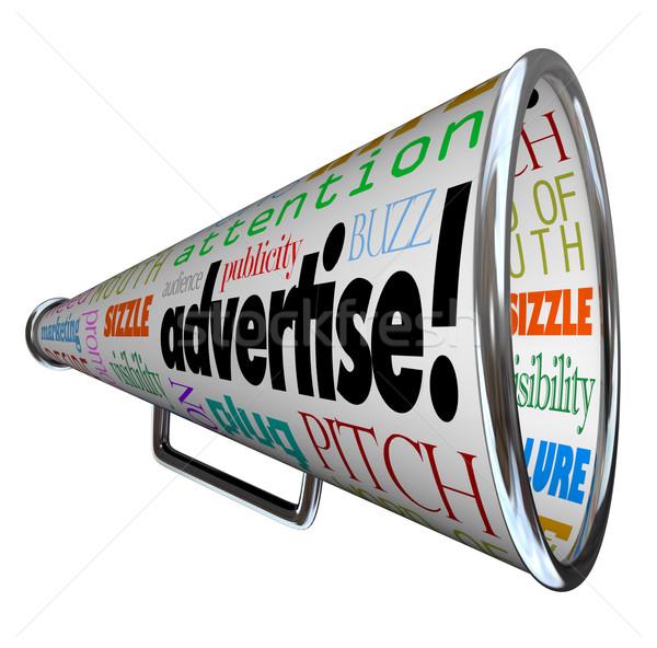 Duyurmak megafon sözler pazarlama kapalı reklam Stok fotoğraf © iqoncept