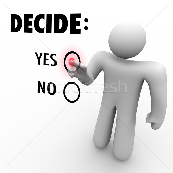Decide Yes or No - Man at Touch Screen Stock photo © iqoncept
