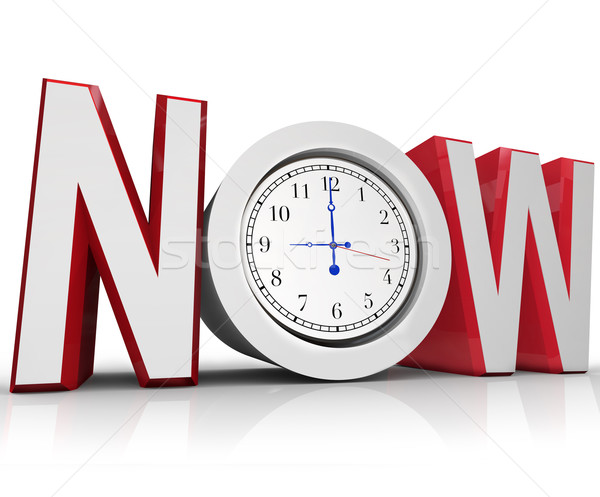 Now Clock Measuring Time for Urgency or Emergency Stock photo © iqoncept