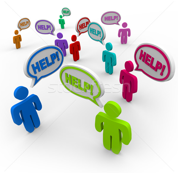 People Asking for Help in Speech Bubbles Stock photo © iqoncept