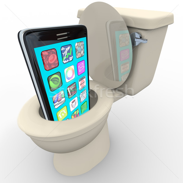Smart Phone in Toilet Frustrated Old Model Obsolete Stock photo © iqoncept