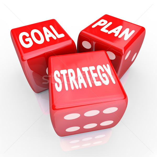Plan Goal Strategy Words on Three Red Dice Stock photo © iqoncept