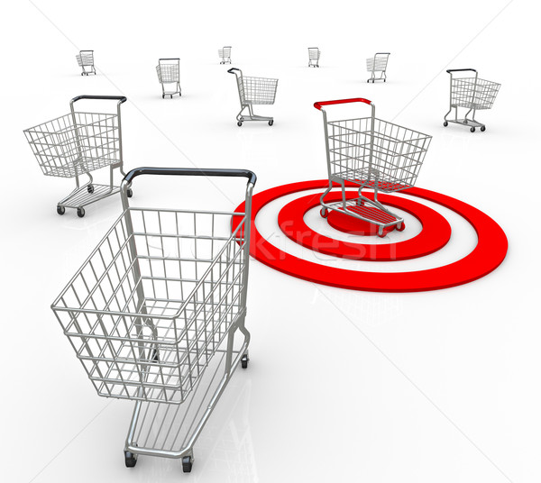 Stock photo: One Shopping Cart Buyer Targeted Marketing Unique Customer