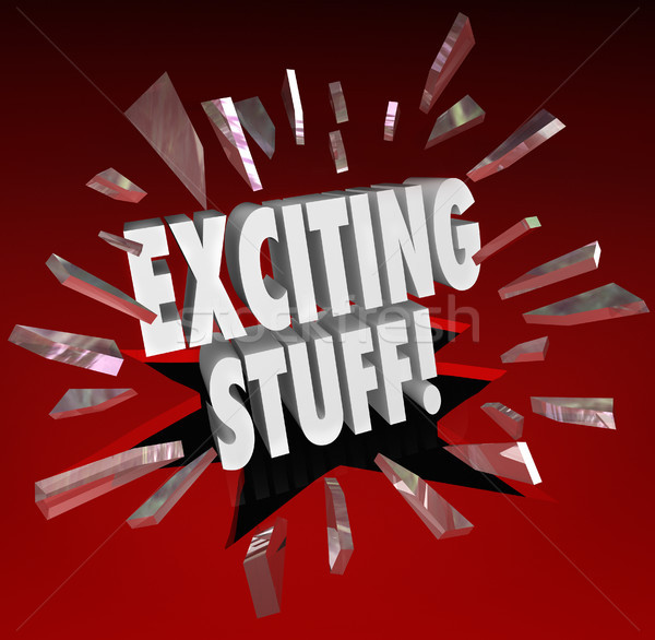 Exciting Stuff 3d Words Breaking Through Glass Important News Stock photo © iqoncept