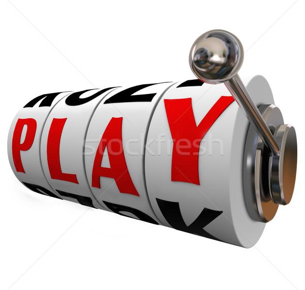 Játék szó játékautomata kerekek jókedv szórakoztatás Stock fotó © iqoncept